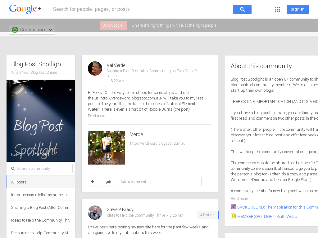 Blog Post Spotlight Community Google+