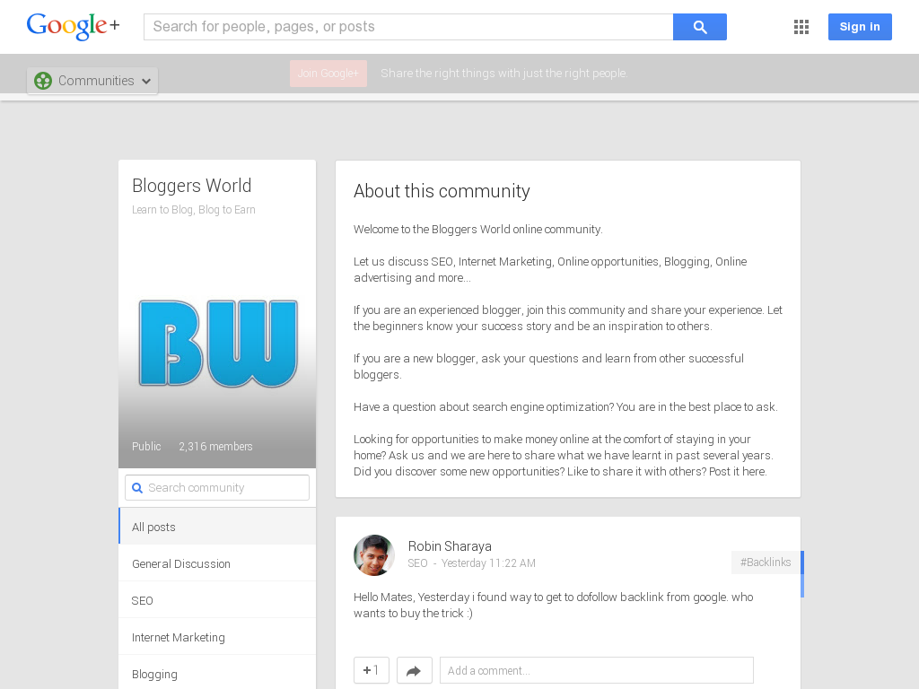 Bloggers World Community Google+