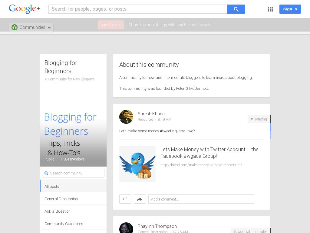 Blogging for Beginners Community Google+