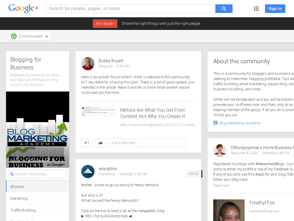 Blogging for Business Community Google+