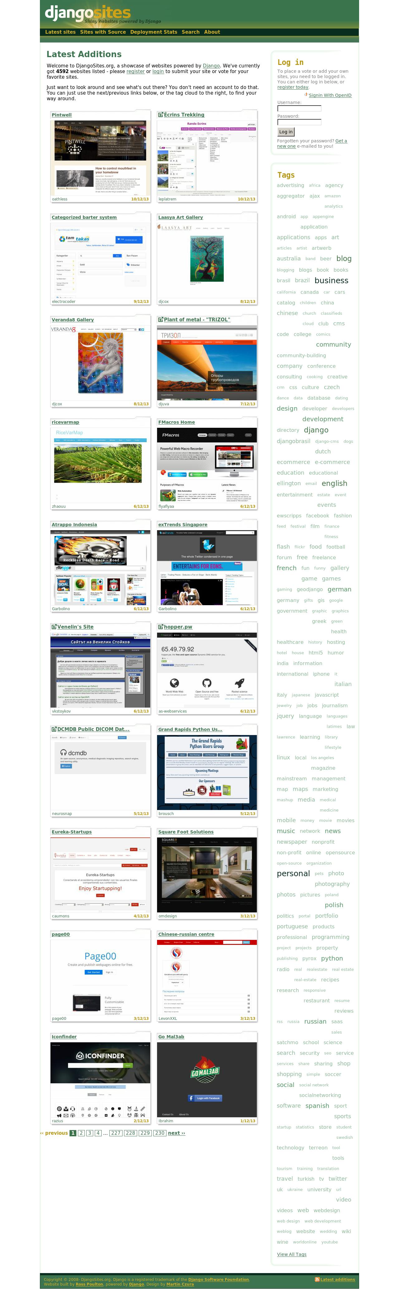 DjangoSites Homepage