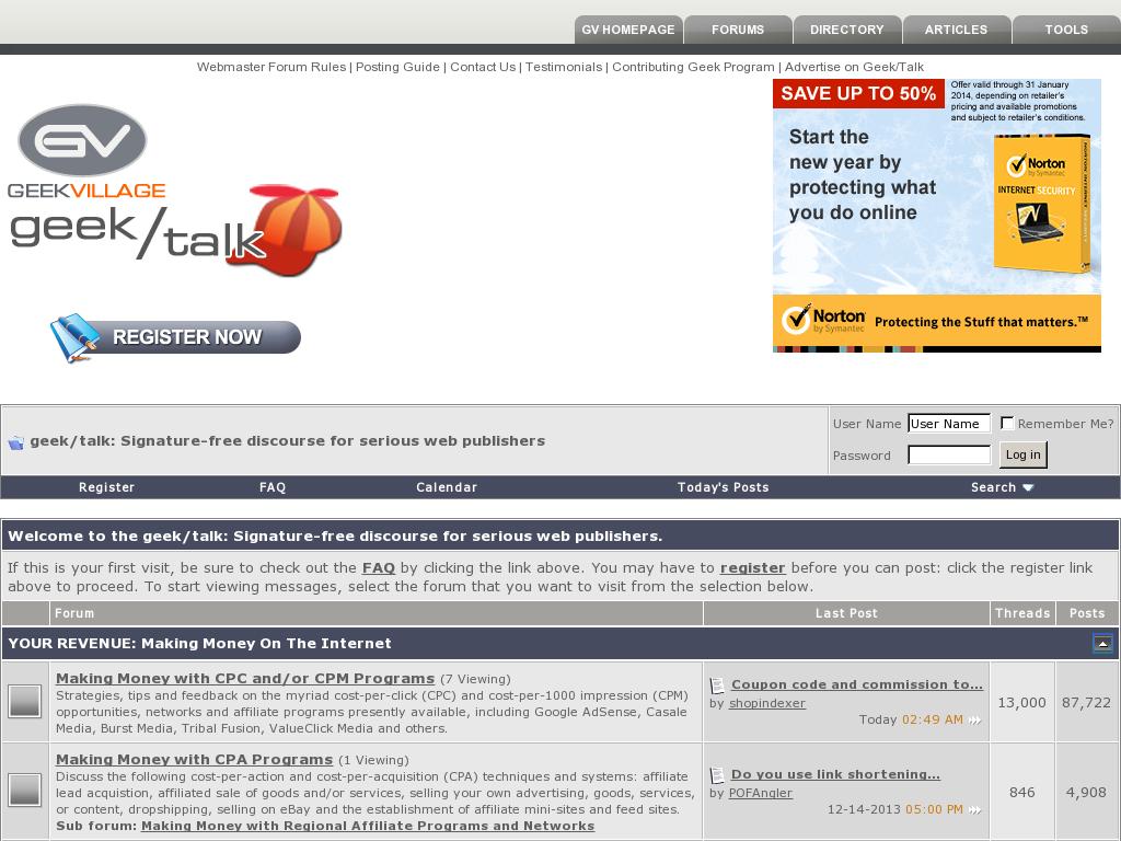 GeekVillage Forums Homepage
