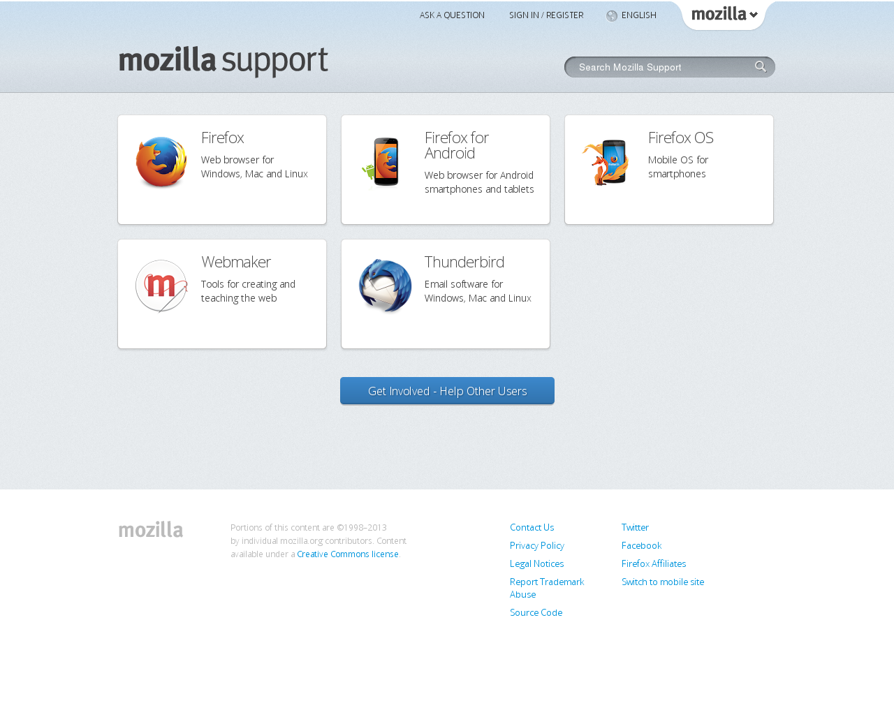 Mozilla Support Homepage