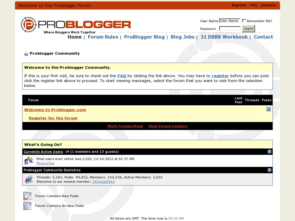 ProBlogger Forum Homepage