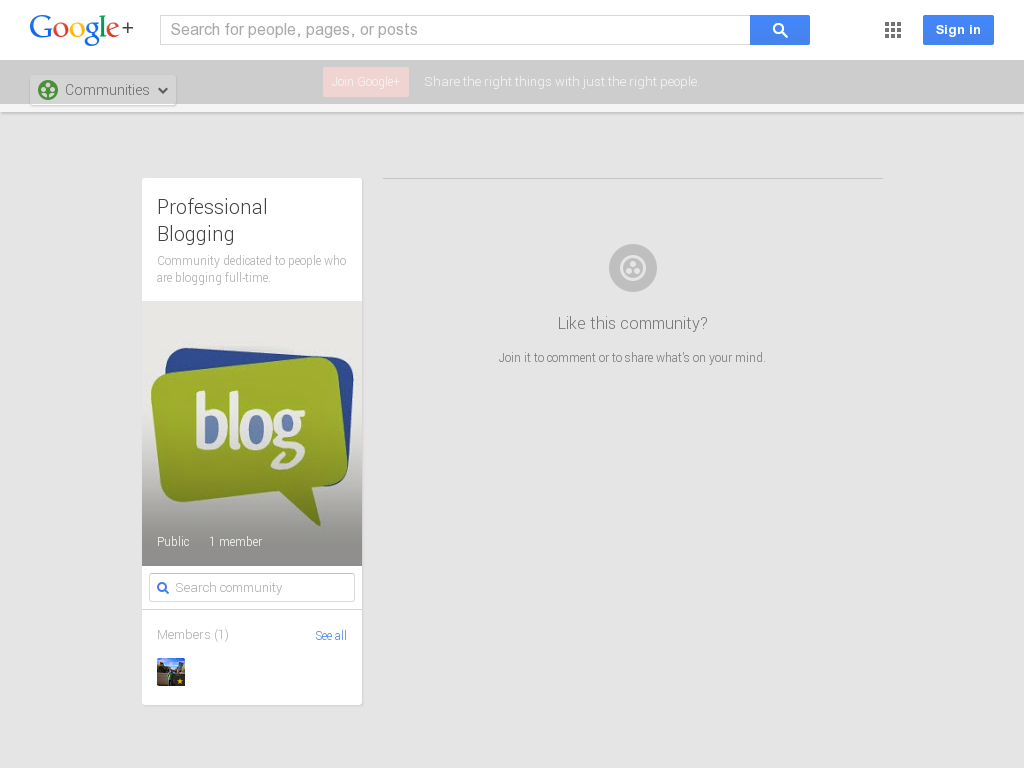 Professional Blogging Community Google+