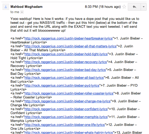 Rap Genius Email About Justin Bieber Links