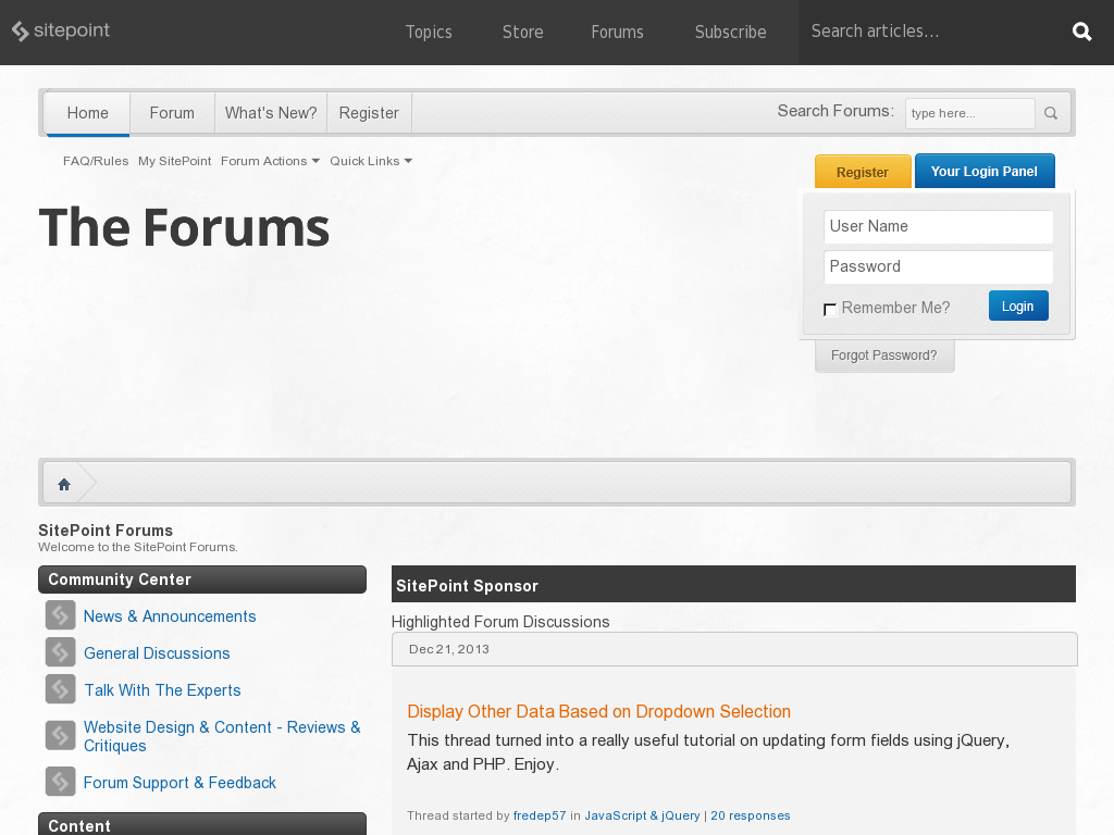 SitePoint Forums Homepage