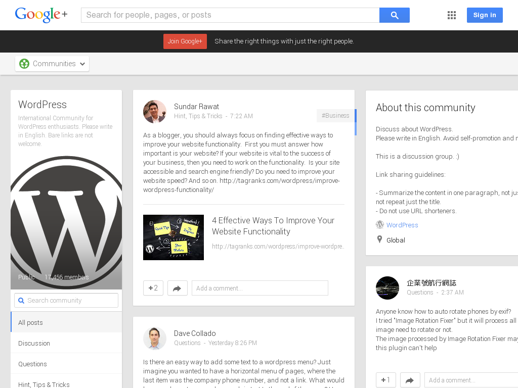 WordPress Community Google+