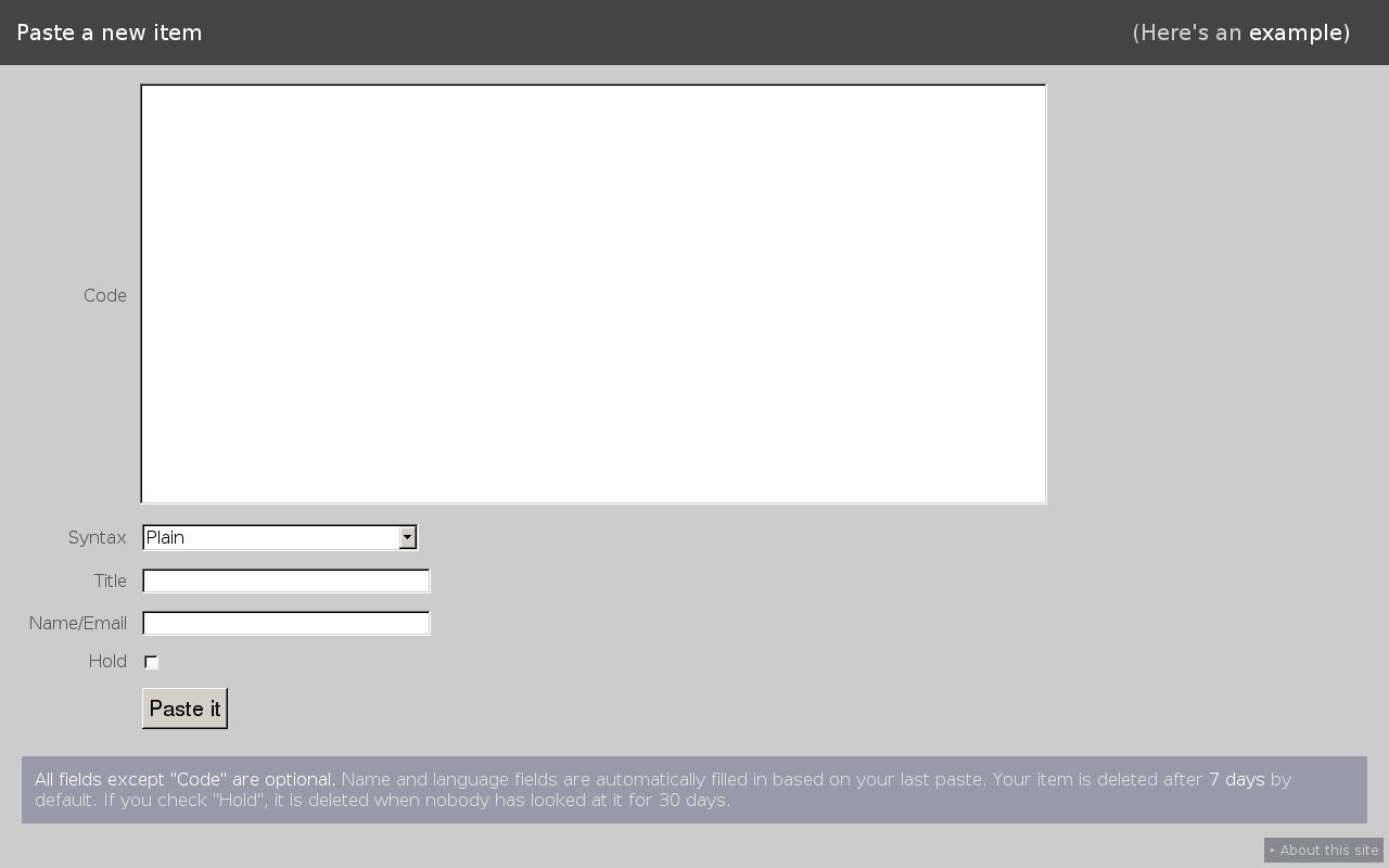 dpaste Homepage