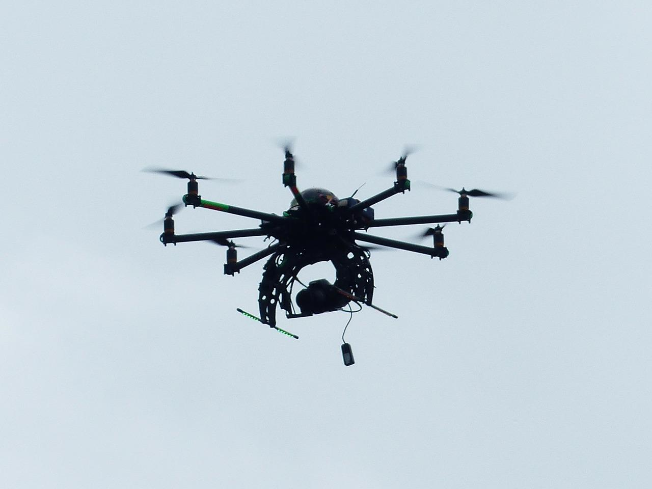 Black Drone Flying in the Air