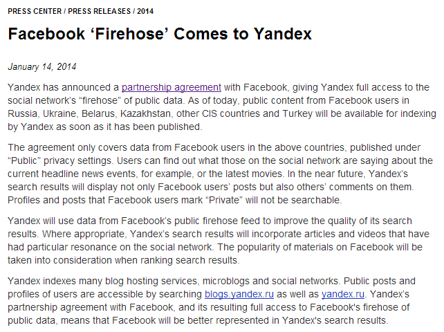Facebook 'Firehose' Comes to YandexFacebook 'Firehose' Comes to Yandex