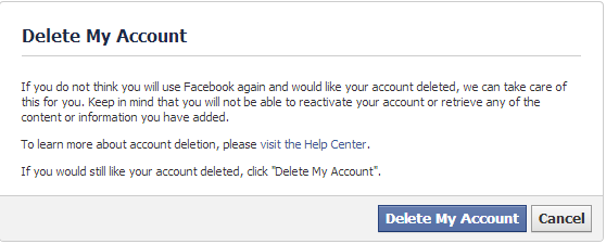 Facebook Delete My Account