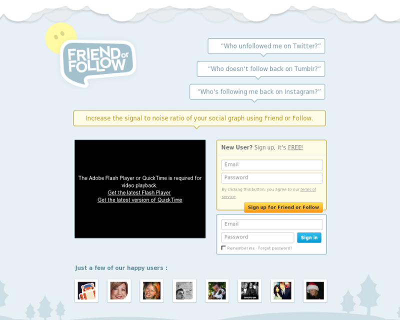 Friend or Follow Homepage