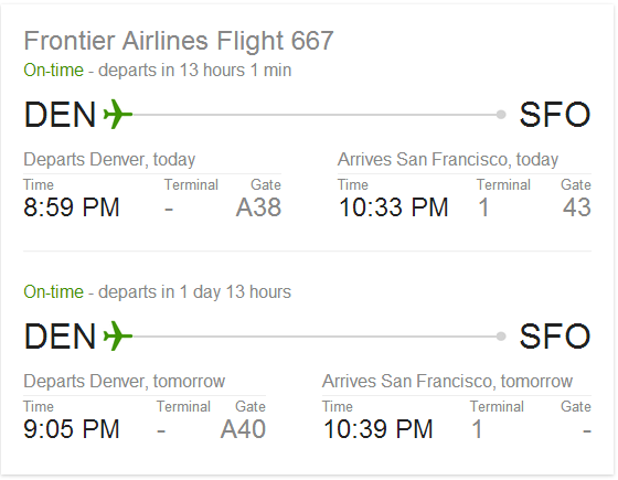 Google - Check Flight Times