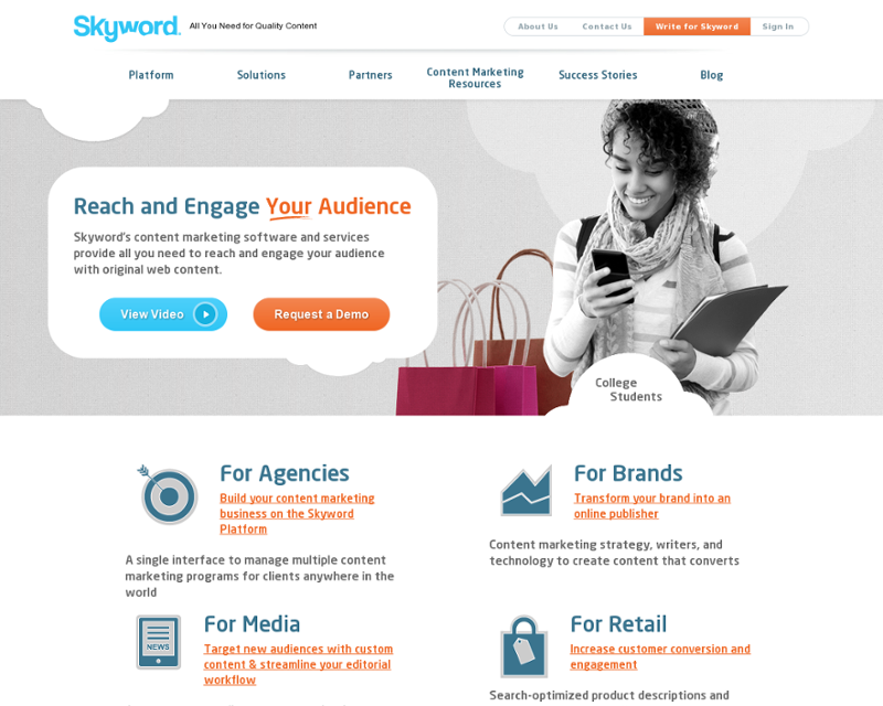 Skyword.com Homepage