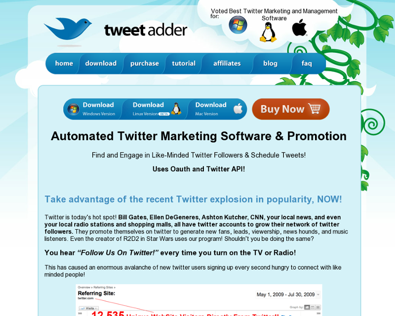 TweetAdder Homepage