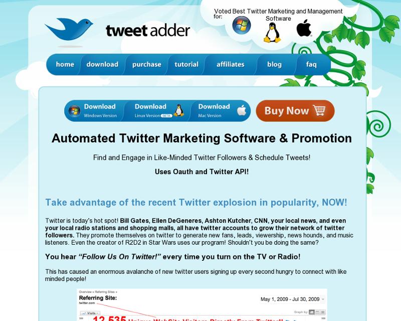TweetAdder Homepage