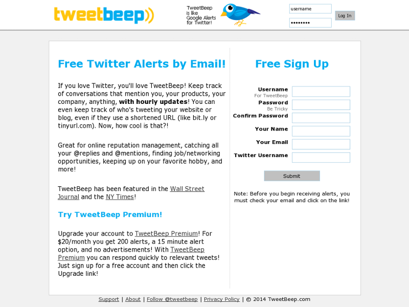 TweetBeep Homepage