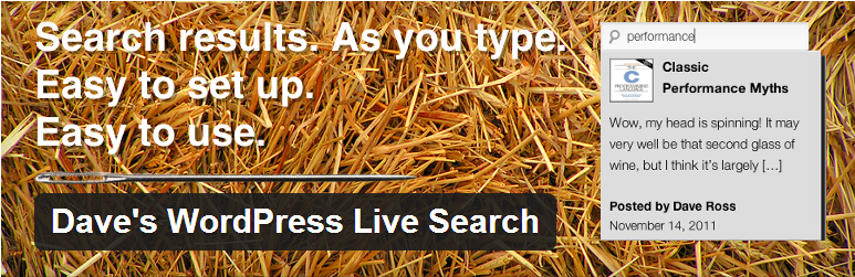 WordPress Dave's Live Search