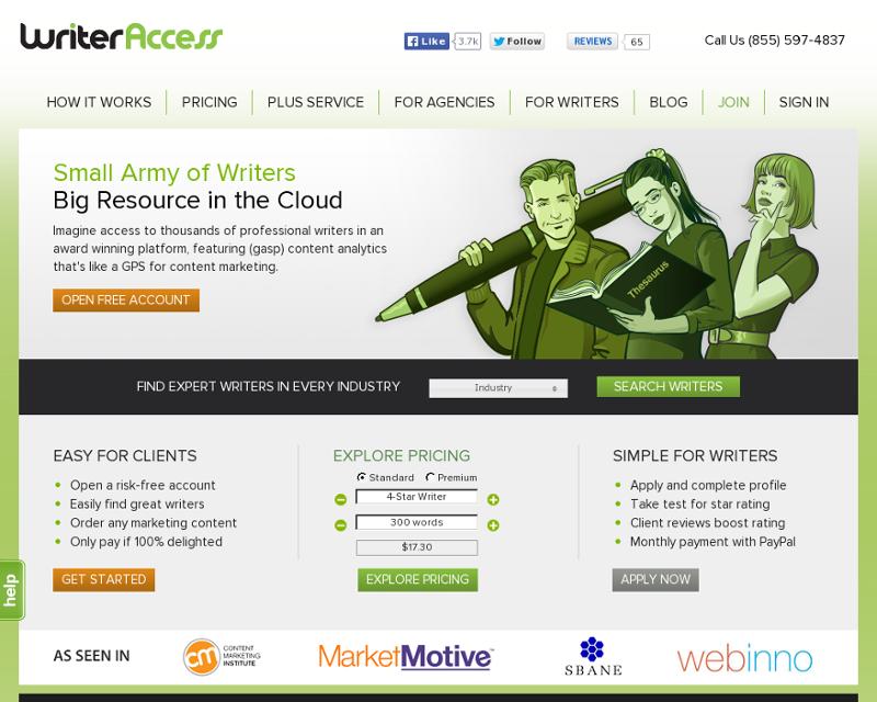 WriterAccess.com Homepage