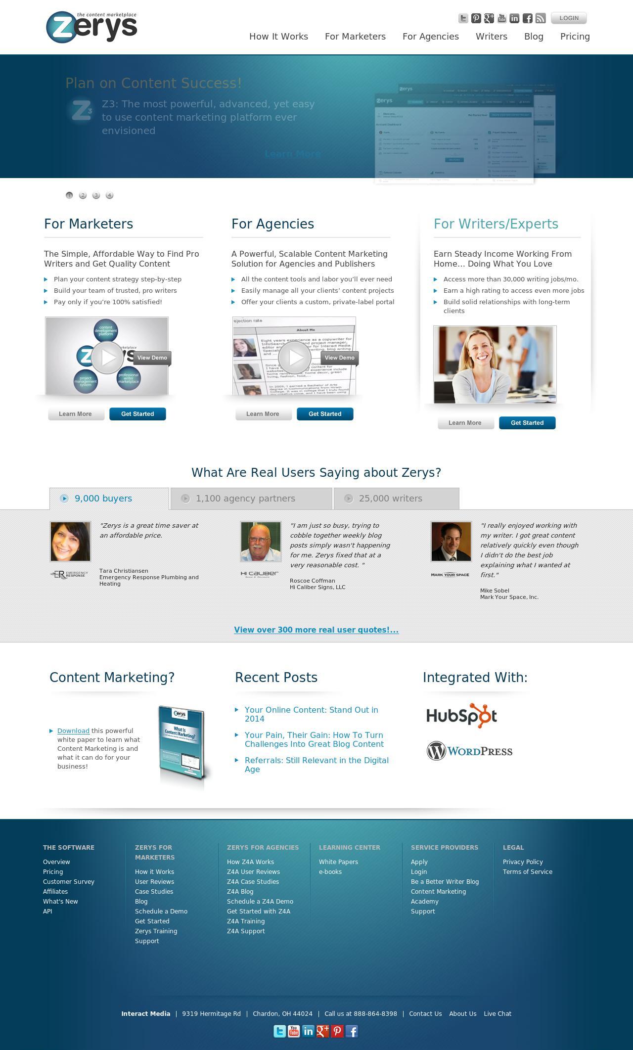 Zerys.com Homepage