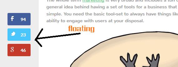 floating social sharing bar example