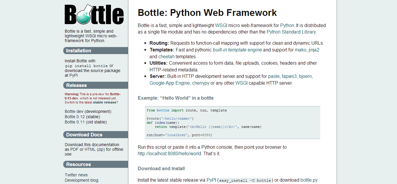 Bottle  Python Web Framework — Bottle 0.13 dev documentation
