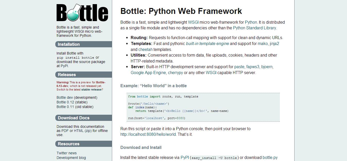 Bottle  Python Web Framework — Bottle 0.13 dev documentation