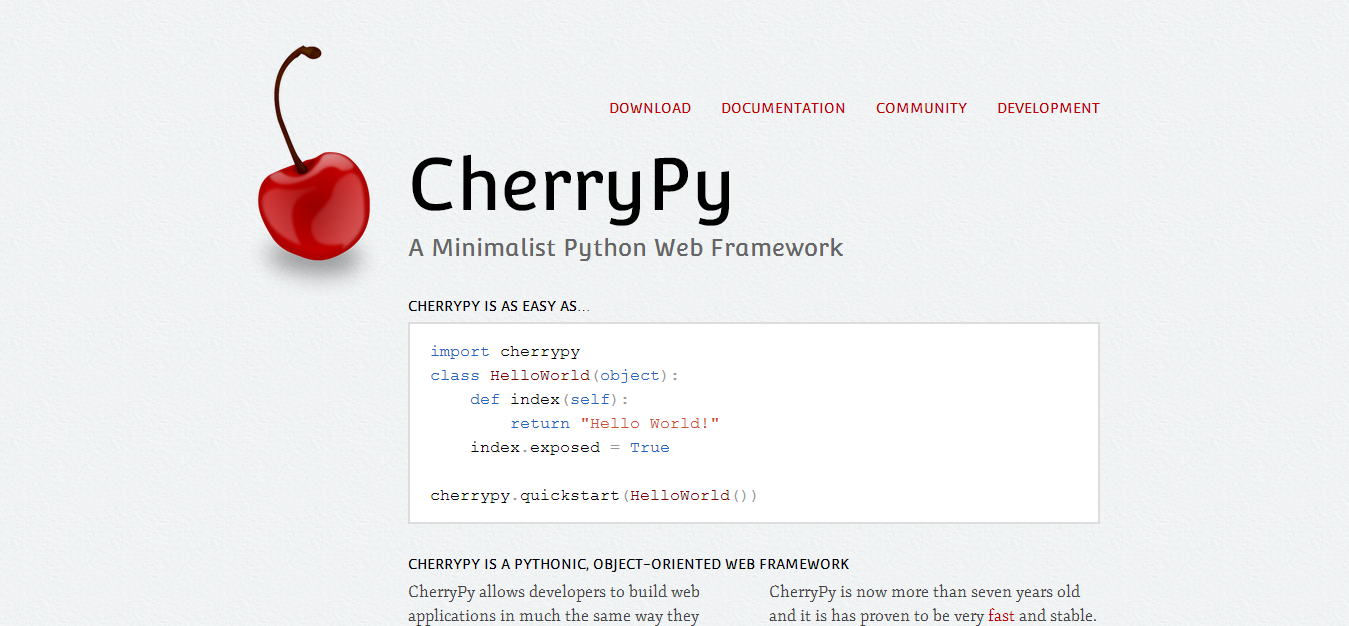 CherryPy — A Minimalist Python Web Framework