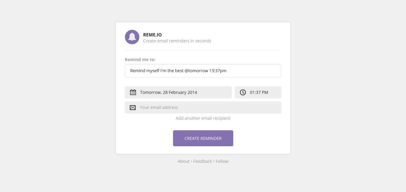 Create a new reminder - RemeIO