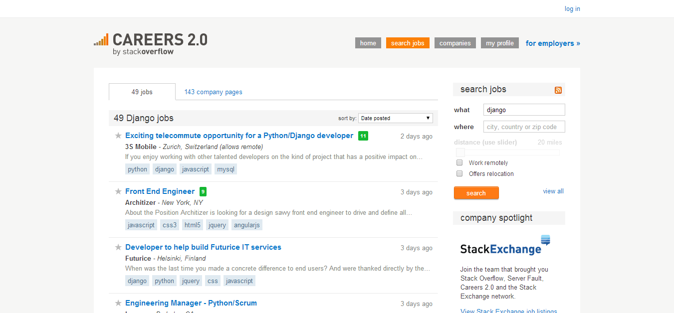 Django Job Listings - Stack Overflow Careers 2.0
