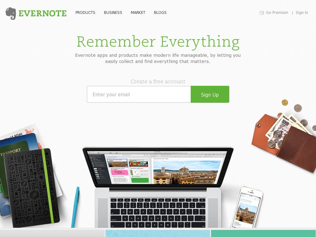 Evernote Homepage