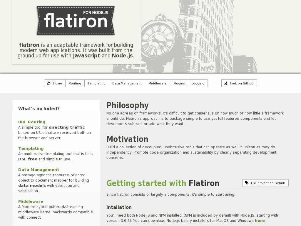 Flatiron, A framework for Node.js