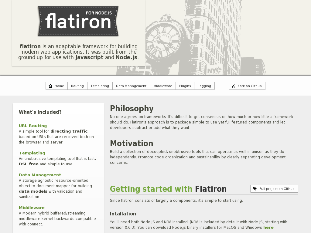 Flatiron, A framework for Node.js
