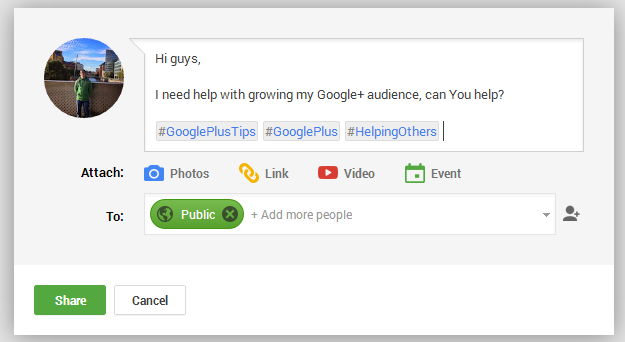 Google+ Asking for Help