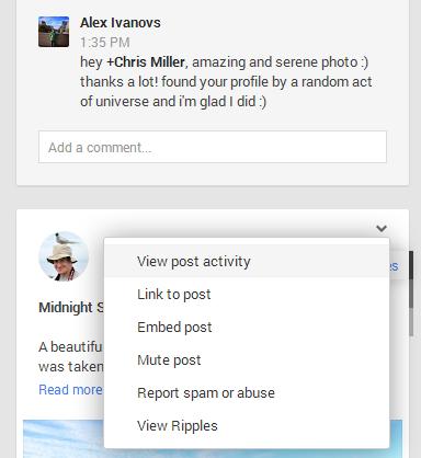 Google+ Block or Mute Person