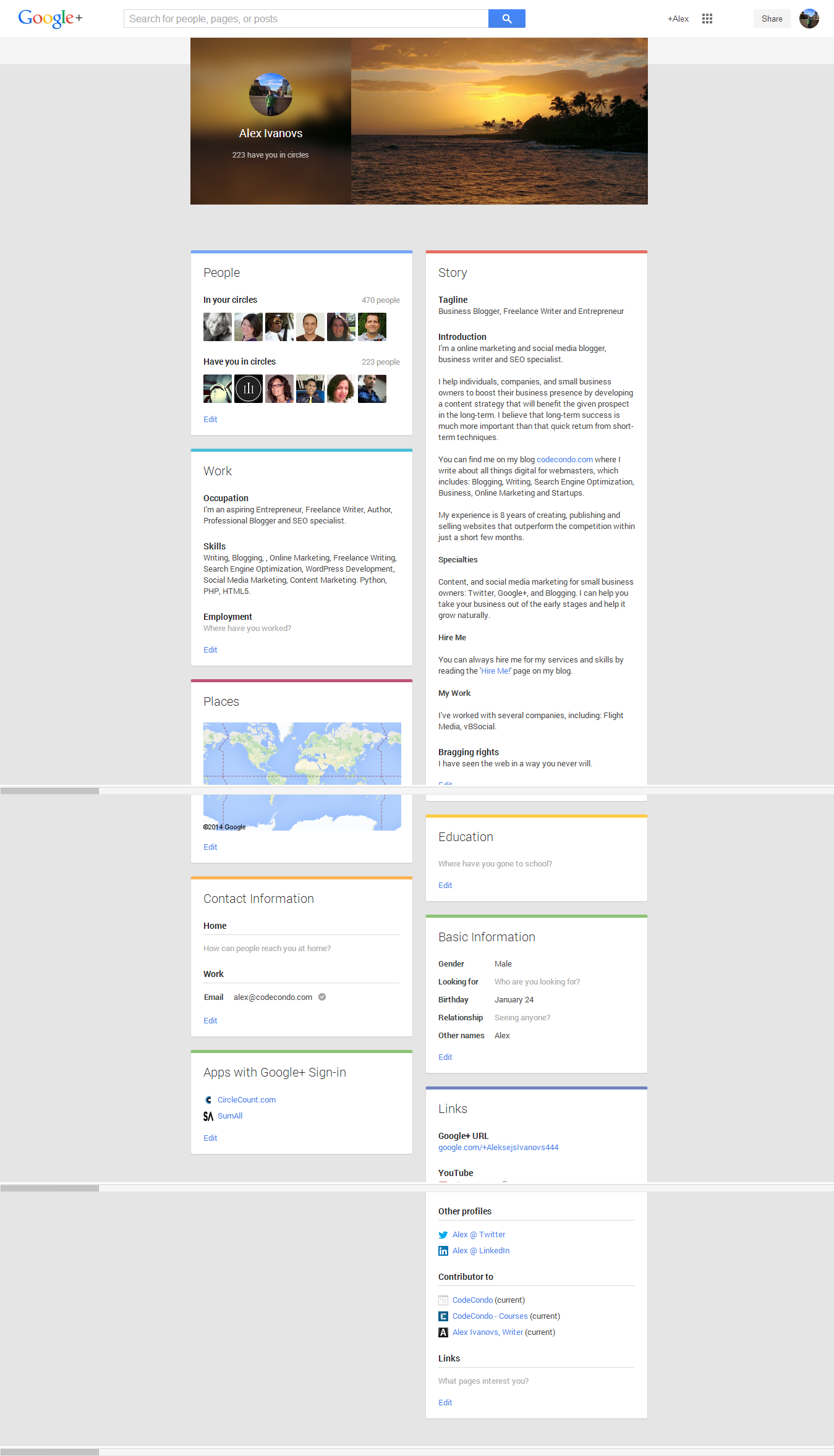 Google+ Full Profile