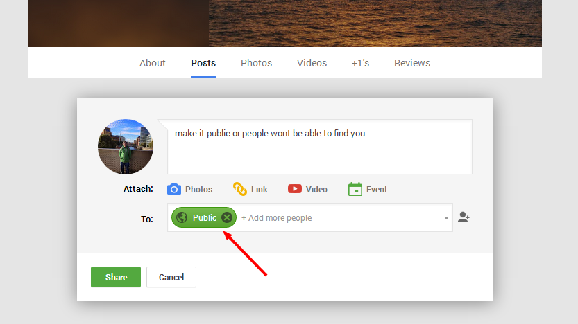 Google+ Making Posts Public