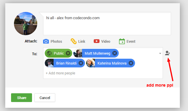 Google+ Tagging People