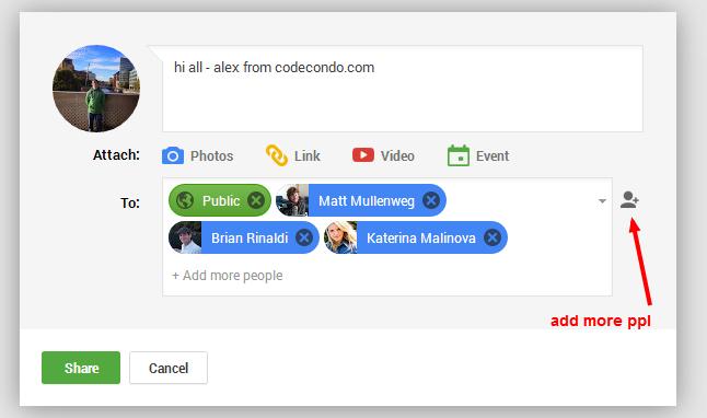 Google+ Tagging People