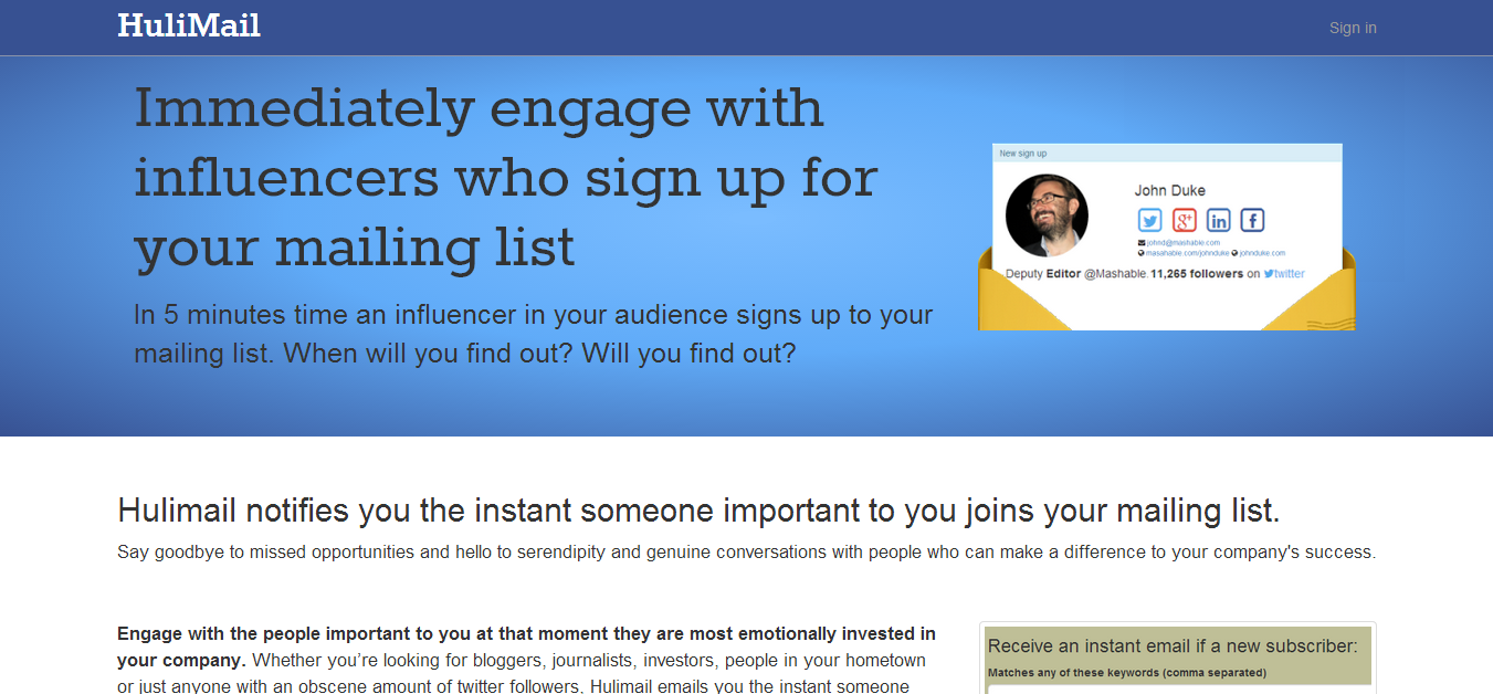 Hulimail   Immediately engage with influencers who sign up for your mailing list