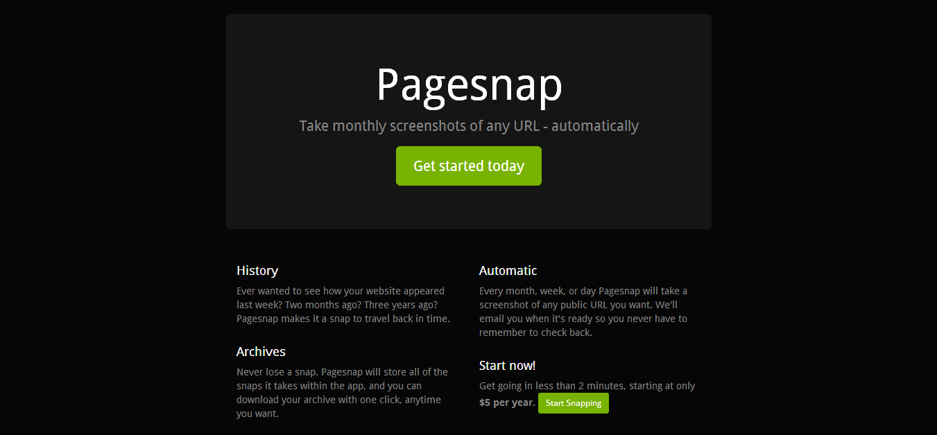 Pagesnap - Automated Monthly Snapshots of Your Website