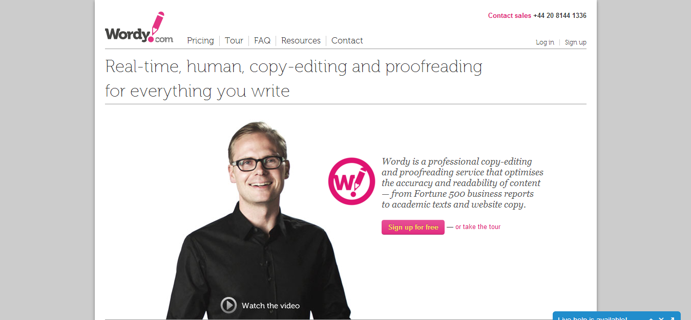 Real time editing and proofreading by experts Wordy