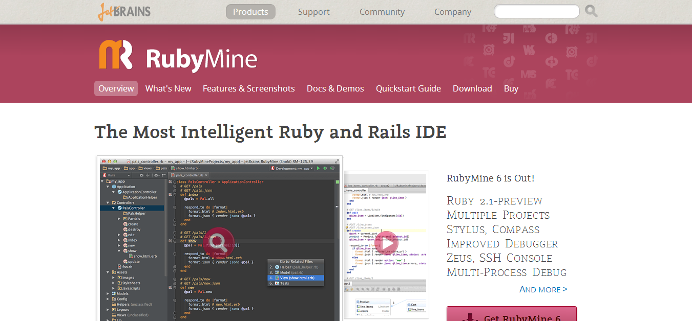 Ruby on Rails IDE    JetBrains RubyMine