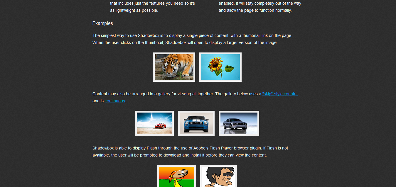 Shadowbox.js - jQuery Gallery