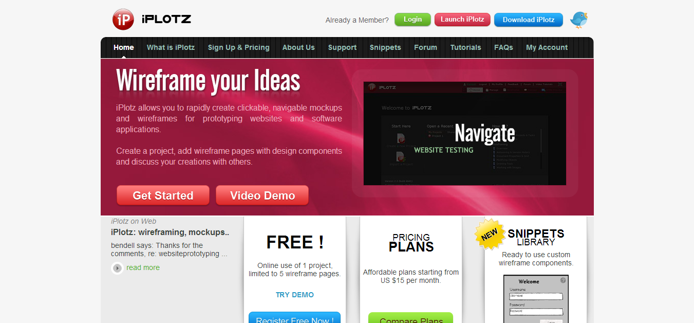 iPlotz wireframing mockups and prototyping for websites and applications