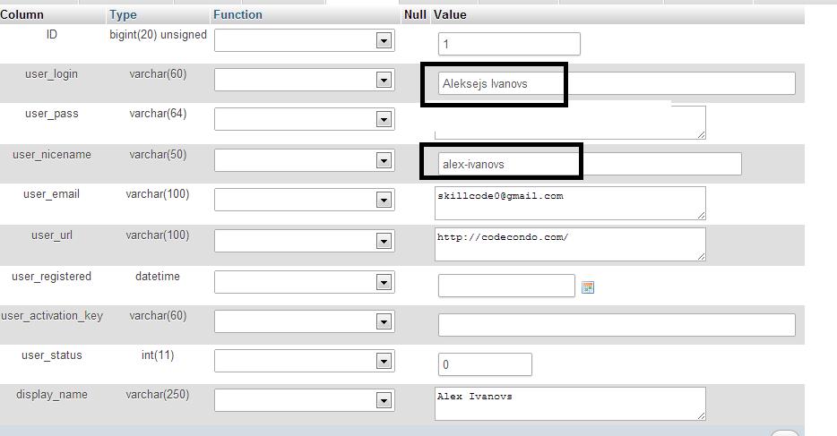 phpMyAdmin Change WordPress Login