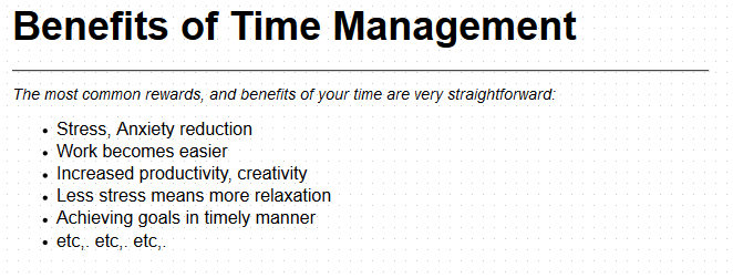 essays on time management