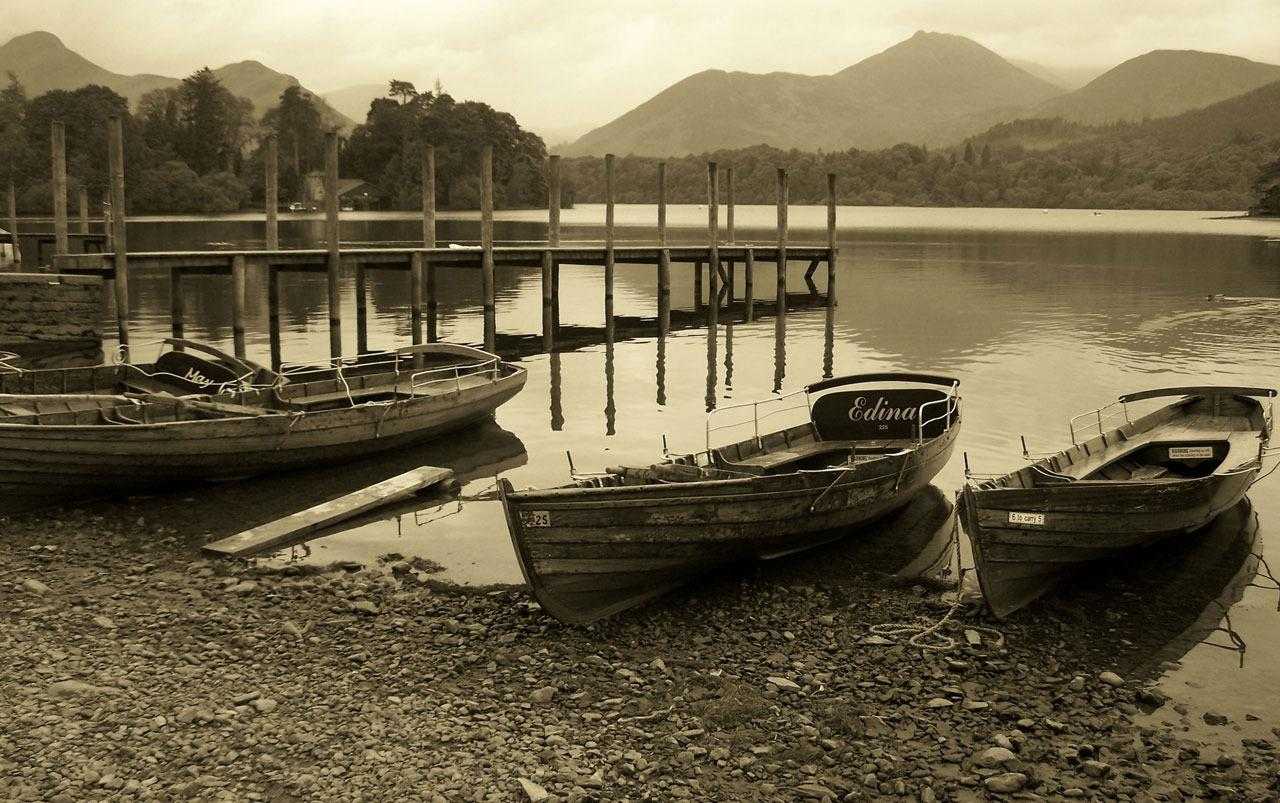 Boats & Lake Sepia