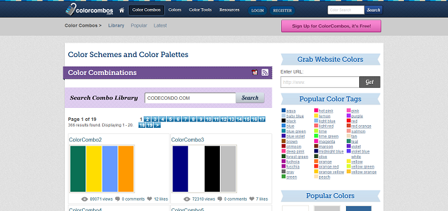 Color Schemes and Color Palettes - Combo Library